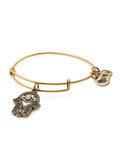 Alex And Ani Swarovski Crystal Gold Flash Hand of Fatima Charm Bangle Bracelet-GOLD-One Size