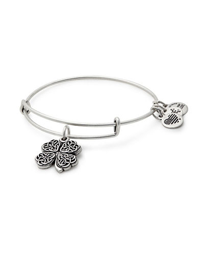Alex And Ani Silverplated Four Leaf Clover Charm Bangle Bracelet-SILVER-One Size