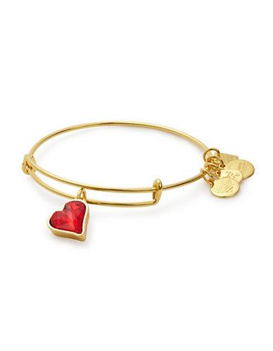 Alex And Ani Heart of Strength Goldtone Swarovski Crystal Charm Bangle-GOLD-One Size