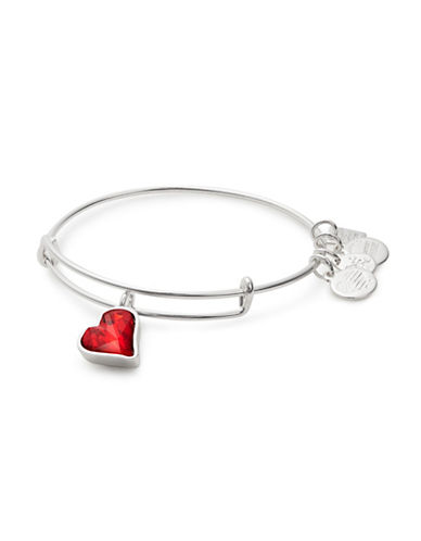 Alex And Ani Heart of Strength Silverplated Swarovski Crystal Charm Bangle-SILVER-One Size