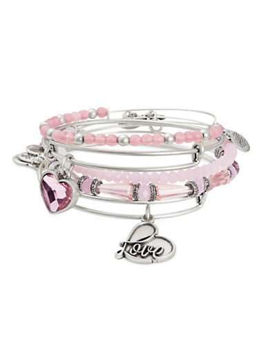 Image of Alex And Ani Alive with the Love Silvertone Bangle Five-Piece Set-PINK-One Size