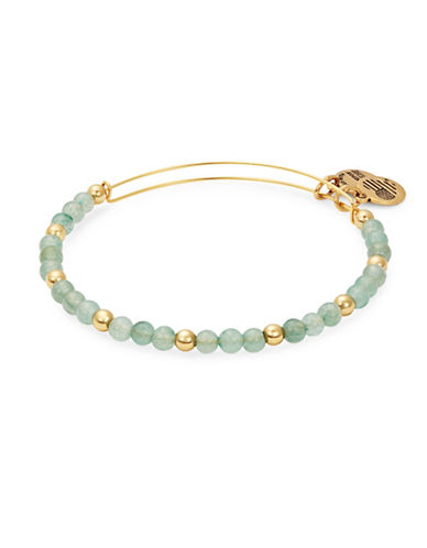 Alex And Ani Colour Classics Gold Flash Fern Beaded Bangle Bracelet-GREEN-One Size