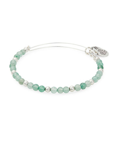 Alex And Ani Colour Classics Silverplated Fern Beaded Bangle Bracelet-GREEN-One Size