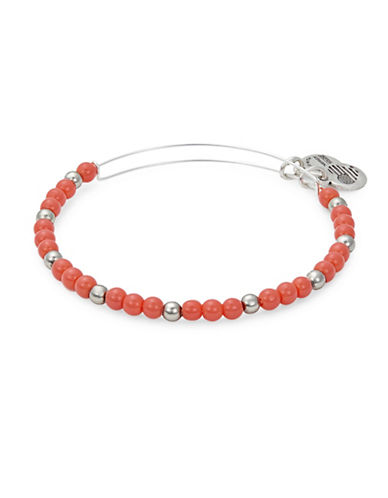 Alex And Ani Colour Classics Silverplated Flora Beaded Bangle Bracelet-ORANGE-One Size