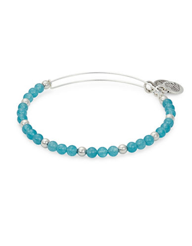 Alex And Ani Colour Classics Silverplated Hydrangea Beaded Bangle Bracelet-BLUE-One Size