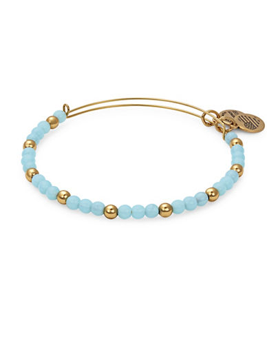 Alex And Ani Colour Classics Gold Flash Bluebell Beaded Bangle Bracelet-BLUE-One Size