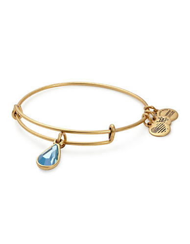 Alex And Ani March Birth Month Charm Bangle With Swarovski Aquamarine Crystal-GOLD-One Size