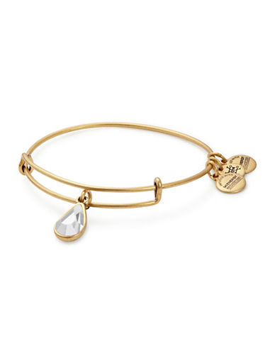 Alex And Ani April Birth Month Charm Bangle With Swarovski Crystal-GOLD-One Size