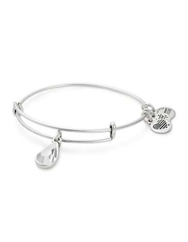 Alex And Ani April Birth Month Charm Bangle With Swarovski Crystal-SILVER-One Size