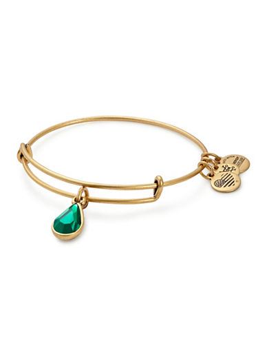Alex And Ani May Birth Month Charm Bangle With Swarovski Emerald Crystal-GOLD-One Size