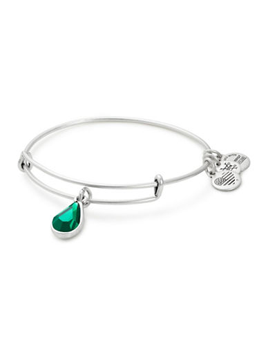 Alex And Ani May Birth Month Charm Bangle With Swarovski Emerald Crystal-SILVER-One Size