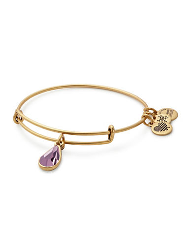 Alex And Ani June Birth Month Charm Bangle With Swarovski Light Amethyst Crystal-GOLD-One Size