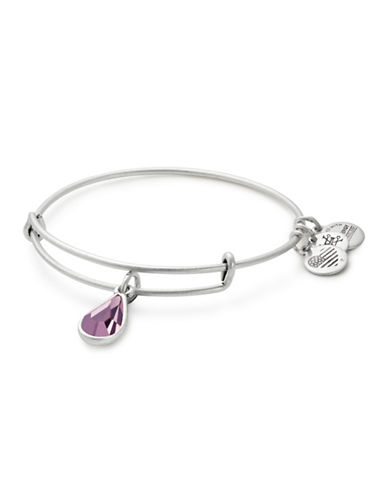 Alex And Ani June Birth Month Charm Bangle With Swarovski Light Amethyst Crystal-SILVER-One Size