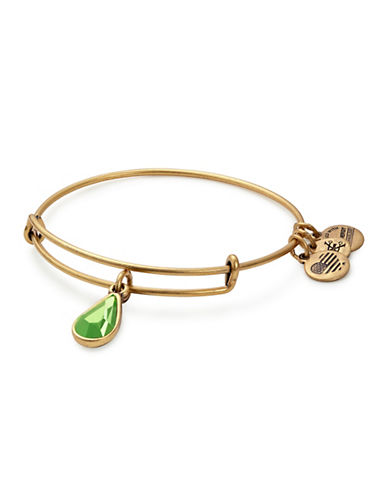 Alex And Ani August Birth Month Charm Bangle With Swarovski Peridot Crystal-GOLD-One Size