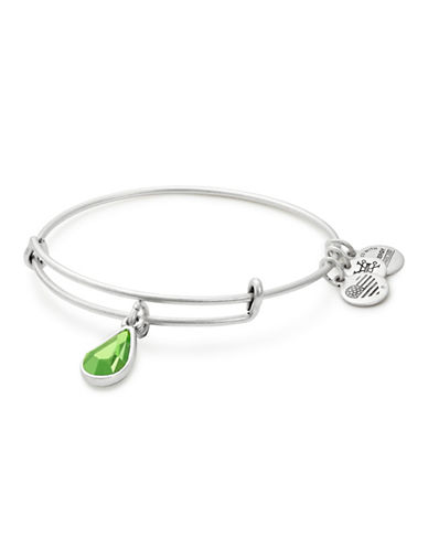 Alex And Ani August Birth Month Charm Bangle With Swarovski Peridot Crystal-SILVER-One Size