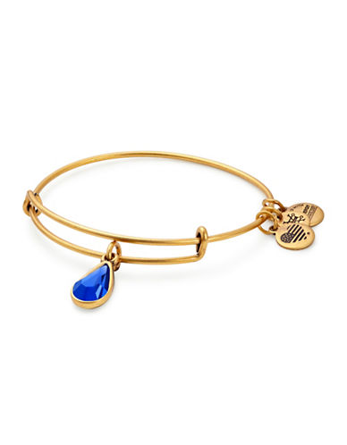 Alex And Ani September Birth Month Charm Bangle With Swarovski Sapphire Crystal-GOLD-One Size
