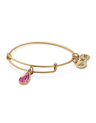 Alex And Ani October Birth Month Charm Bangle With Swarovski Crystal-GOLD-One Size