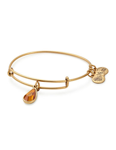 Alex And Ani November Birth Month Charm Bangle With Swarovski Topaz Crystal-GOLD-One Size