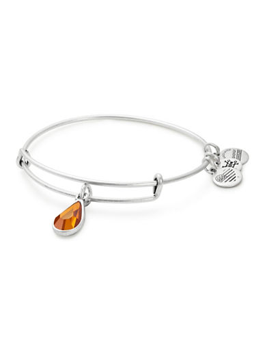 Alex And Ani November Birth Month Charm Bangle With Swarovski Topaz Crystal-SILVER-One Size