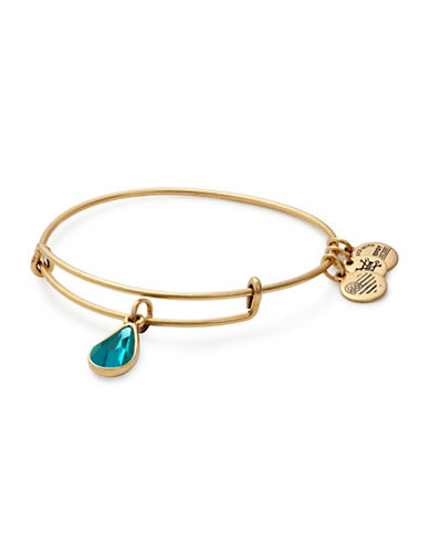 Alex And Ani December Birth Month Charm Bangle With Swarovski Blue Zircon Crystal-GOLD-One Size