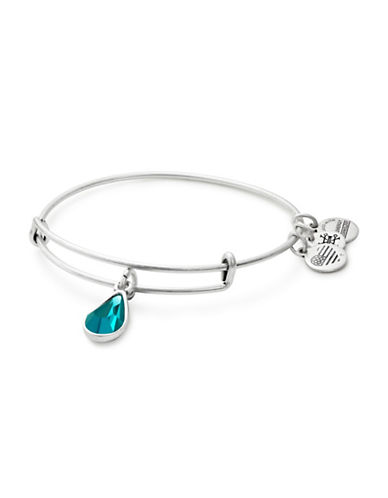 Alex And Ani December Birth Month Charm Bangle With Swarovski Blue Zircon Crystal-SILVER-One Size