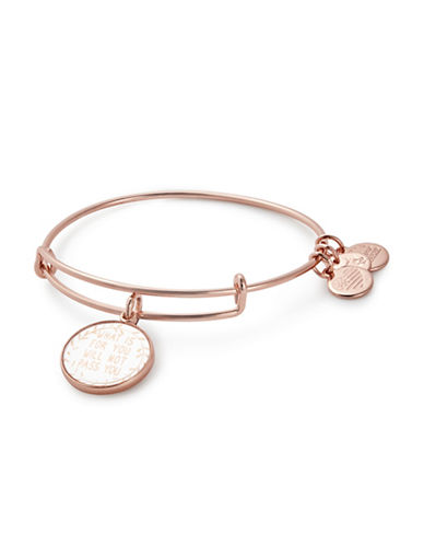 Alex And Ani What Is for You Will Not Pass You Charm Bangle Bracelet-ROSE GOLD-One Size