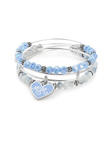Alex And Ani Colour Infusion Three-Piece Mom Bracelet Set-BLUE-One Size