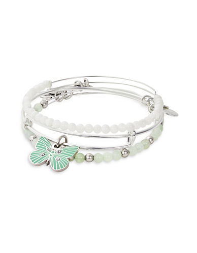 Alex And Ani Three-Piece Butterfly Bracelet Set-GREEN-One Size