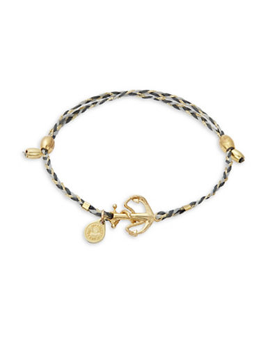 Alex And Ani Goldplated and Sterling Silver Anchor Precious Threads Bracelet-GREY-One Size