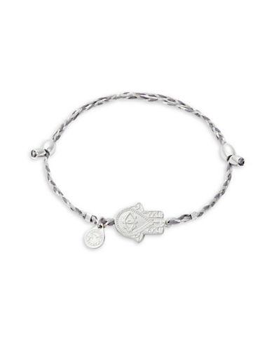Alex And Ani Sterling Silver Hand  of Fatima Precious Threads Bracelet-GREY-One Size