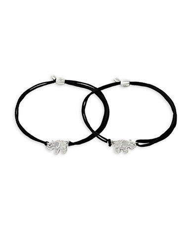 Alex And Ani Two-Piece Sterling Silver Elephant Kindred Cord Bracelet Set-SILVER-One Size