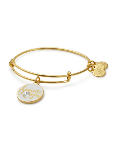 Alex And Ani Colour Infusion Because I Love You Swarovski Crystal Bracelet-GOLD-One Size