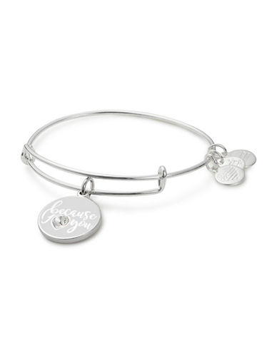 Alex And Ani Colour Infusion Because I Love You Swarovski Crystal Bracelet-SILVER-One Size
