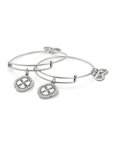 Alex And Ani Two-Piece Infinite Connection Bracelet Set-SILVER-One Size