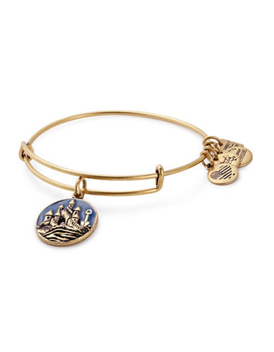 Alex And Ani Sand Castle Charm Bangle Bracelet-GOLD-One Size