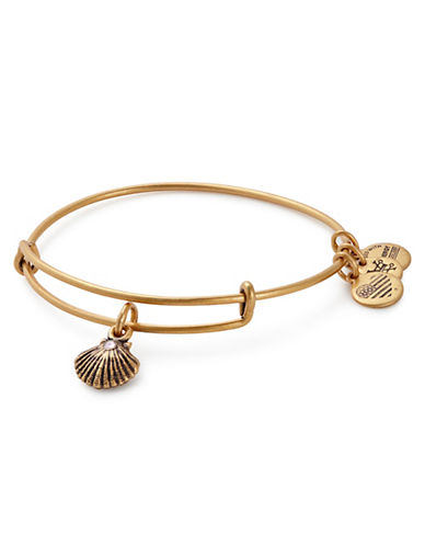 Alex And Ani Swarovski Crystal Sea Shell Bracelet-GOLD-One Size