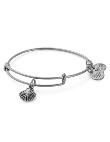 Alex And Ani Swarovski Crystal Sea Shell Adjustable Bracelet-SILVER-One Size