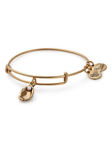 Alex And Ani Swarovski Crystal Oyster Bracelet-GOLD-One Size
