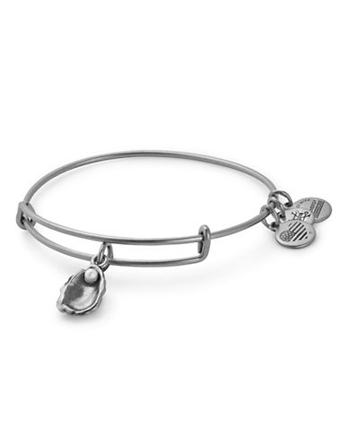 Alex And Ani Swarovski Crystal Oyster Adjustable Bracelet-SILVER-One Size
