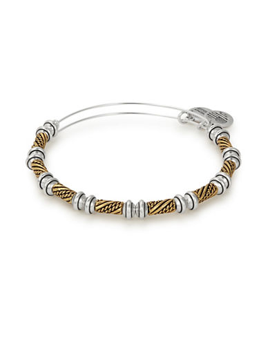 Alex And Ani Quill Two-Tone Beaded Bangle-SILVER-One Size