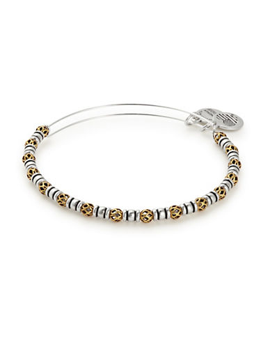 Alex And Ani Orbit Two-Tone Beaded Bangle-SILVER-One Size
