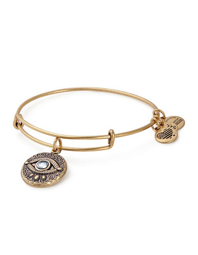 Alex And Ani Evil Eye Expandable Swarovski Wire Bangle-GOLD-One Size