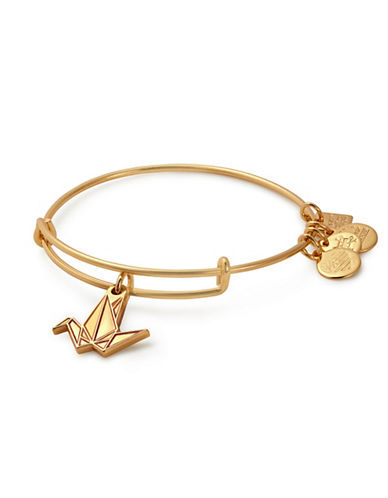 Alex And Ani Paper Crane Charm Bangle-GOLD-One Size