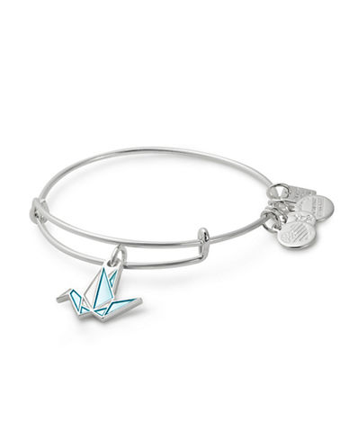 Alex And Ani Paper Crane Charm Bangle-SILVER-One Size