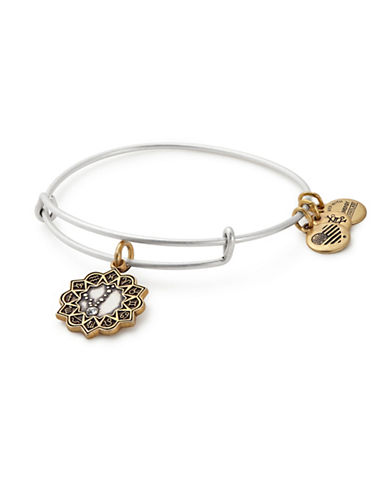 Alex And Ani Swarovski Crystal Pisces Charm Bangle-TWO TONE-One Size