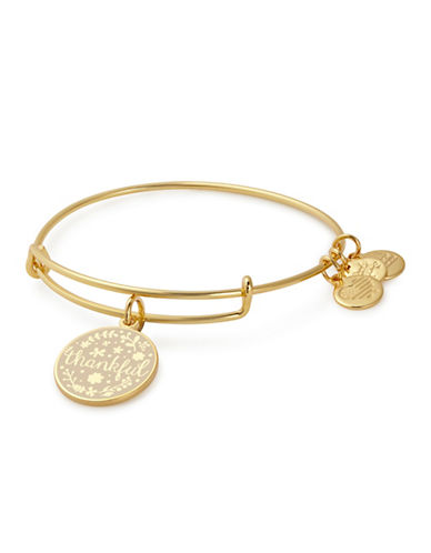 Alex And Ani Thankful Charm Bangle-GOLD-One Size