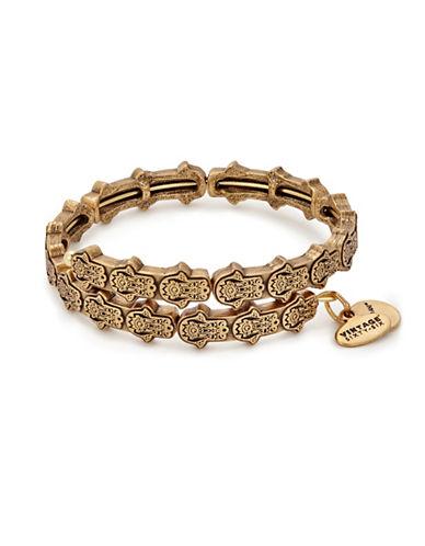 Alex And Ani Hand of Fatima Wrap Bracelet-GOLD-One Size