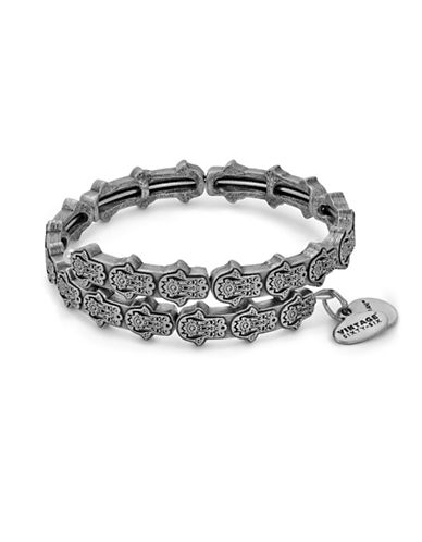 Alex And Ani Hand of Fatima Wrap Bracelet-SILVER-One Size