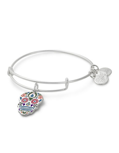 Alex And Ani Calavera Colour Infusion Charm Bangle-SILVER-One Size
