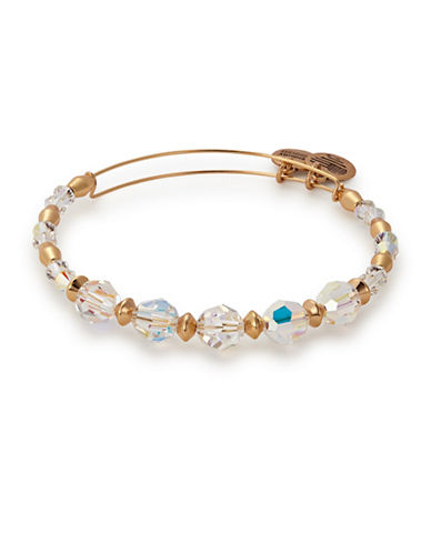 Alex And Ani Swarovski Crystals Frost Beaded Bangle-GOLD-One Size